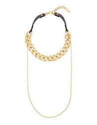 Steve Madden Curb Chain And Black Leather Choker Gold