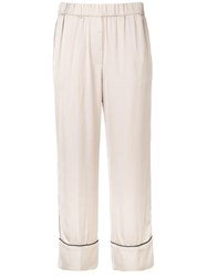 Peserico Cropped Straight Leg Trousers Neutrals