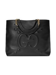 Gucci Embossed Gg Leather Tote Women Cotton Leather One Size Black