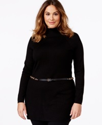 Inc International Concepts Plus Size Mock Turtleneck Belted Tunic Sweater Only At Macy's