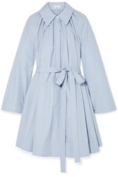 Pleated Cotton Poplin Mini Dress Light Blue