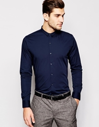 Vito Shirt With Micro Collar In Skinny Fit Navy