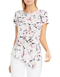 Vince Camuto Asymmetric Painterly Muses Burnout Tee White