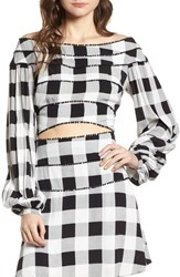 Afrm Blaze Off The Shoulder Crop Top Noir Blanc Gingham