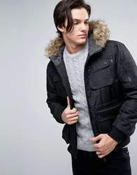 Brave Soul Short Parka With Faux Fur Hood Black