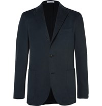 Boglioli Blue Slim Fit Brushed Stretch Cotton Twill Suit Jacket Navy