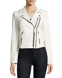 Joie Hayworth Leather Moto Jacket White