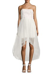 Parker Midtown Strapless Hi Lo Gown Ivory