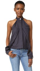 Dion Lee Sleeve Release Shirt Striped Navy