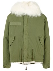 Mr And Mrs Italy Contrast Parka Jacket Men Cotton Leather Polyamide Feather Xs Green