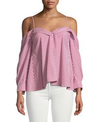Bardot Paloma Striped Off The Shoulder Blouse Red White