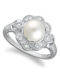 Macy's Sterling Silver Ring Cultured Freshwater Pearl 7Mm And Diamond 1 10 Ct. T.W. Ring