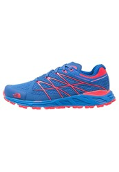 The North Face Ultra Endurance Trail Running Shoes Blue Quartz Rocket Red