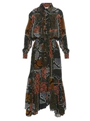 Preen Line Martha Snake Print Tie Neck Dress Multi