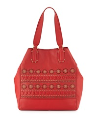 Isabella Fiore Morocco Laser Cut Large Tote Bag Red