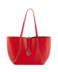 Bcbgmaxazria Bcbg Paris Reversible Chain Trim Tote Bag Red Black