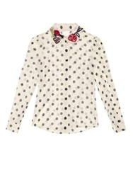 Red Valentino Embroidered Polka Dot Silk Blend Blouse