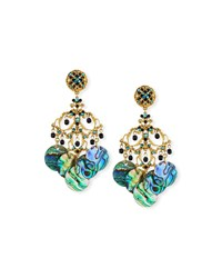 Jose And Maria Barrera Abalone Disc Chandelier Clip On Earrings