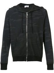 Saint Laurent Camouflage Cardigan With Hood Black