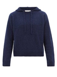 Lanvin Alpaca Cashmere And Silk Hooded Sweater Navy