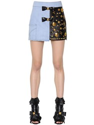 Fausto Puglisi Embellished Leather And Cotton Denim Skirt