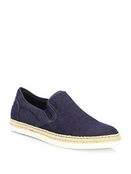 Saks Fifth Avenue Collection Denim Espadrille Slip On Loafers Blue