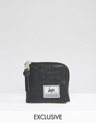 Hype Exclusive Coin Purse In Faux Ostrich Leather Black
