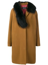 Gianluca Capannolo Fox Fur Trim Coat Brown