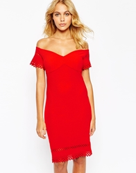 Love Bardot Pencil Dress With Laser Cutwork Detail Red