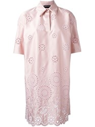 Rochas Broderie Anglaise Shift Dress Pink And Purple