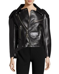 Balenciaga Leather Moto Jacket Black