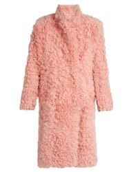 Preen Candy Curly Shearling Coat Light Pink