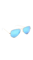 Ray Ban Mirrored Matte Classic Aviator Sunglasses Matte Gold Blue Mirror