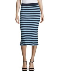 Altuzarra Bloomfield Striped Rib Knit Skirt Navy