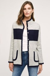 Anthropologie Colorblocked Sweater Coat Light Grey