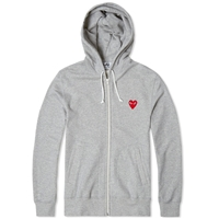 Comme Des Garcons Play Full Zip Hoody Grey And Red