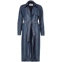 River Island Womens Blue Tencel Denim Draped Trench Coat