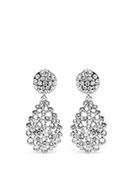 Oscar De La Renta Crystal Teardrop Clip On Earrings
