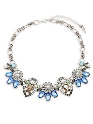 Saks Fifth Avenue Floral Statement Necklace Silver Blue