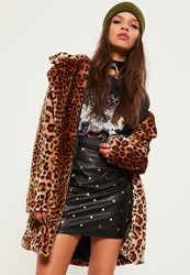 Missguided Petite Exclusive Black Faux Leather Studded Mini Skirt
