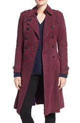 Rebecca Minkoff Women's 'Amis' Double Breasted Suede Trench Coat Deep Magenta