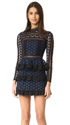 Self Portrait High Neck Star Lace Dress Navy