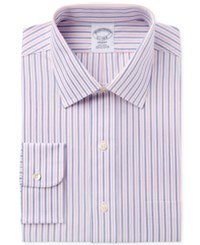 Brooks Brothers Men's Milano Extra Slim Fit Non Iron Blue Striped Dress Shirt Coral