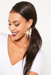 Missguided Leaf Statement Earrings Gold