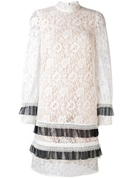 Erdem Lace Long Sleeve Mini Dress Women Silk Cotton Polyamide Rayon 8 White