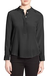 Women's Amour Vert 'Tilda' Collarless Silk Blouse Black