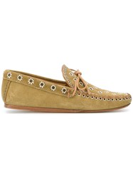 Isabel Marant Foccia Flower Eyelet Embellished Loafers Nude And Neutrals
