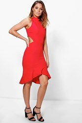 Boohoo High Neck Peplum Hem Bodycon Dress Red