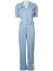 Rosie Assoulin Mechanic Block Panel Jumpsuit Blue
