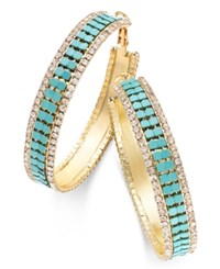 Thalia Sodi Gold Tone Turquoise Color Mesh And Crystal Hoop Earrings Only At Macy's